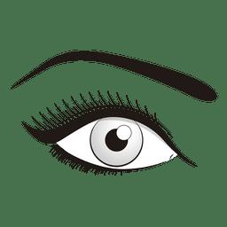 Maquillaje de ojos blancos y negros.