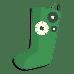 Green flowers christmas stocking icon 26