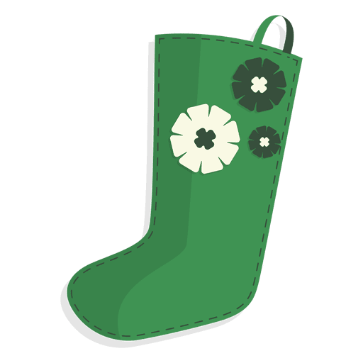 Green flowers christmas stocking icon 26 Transparent PNG