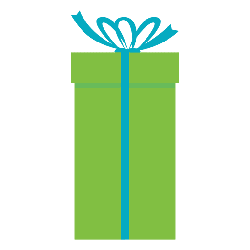 Green gift box blue bow icon 20 - Transparent PNG & SVG vector