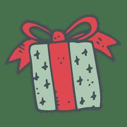 Caja de regalo verde arco rojo dibujado a mano icono 35