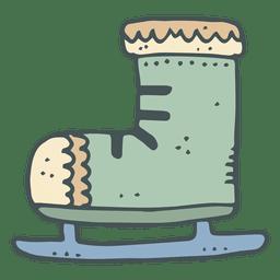 Ícono de dibujos animados dibujado a mano verde iceskate 11