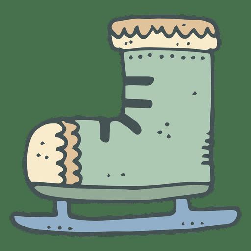 Ícono de dibujos animados dibujado a mano verde iceskate 11 Transparent PNG