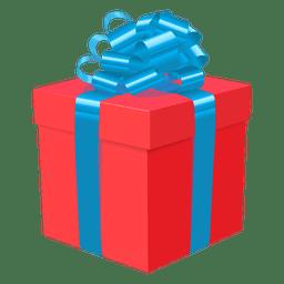 Blaue Bogenikone 1 der roten Geschenkbox