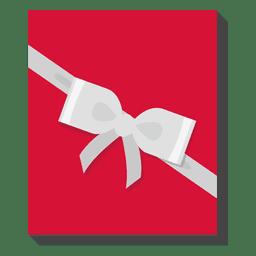 Caixa de presente vermelha prata arco ícone 24