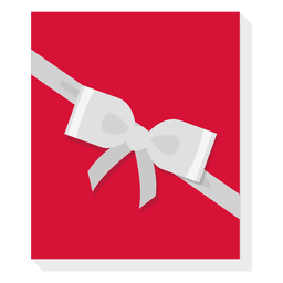 Red gift box silver bow icon 24