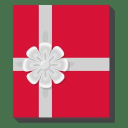 Caja de regalo roja icono arco plata 28