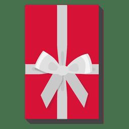 Caja de regalo roja icono arco plata 29