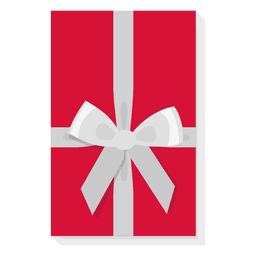 Red gift box silver bow icon 29