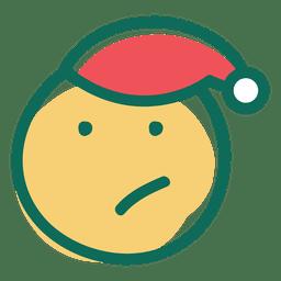Pequeño ceño de santa claus sombrero cara emoticon 21