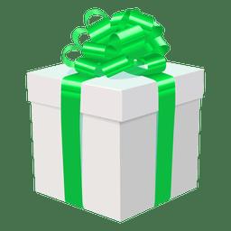 Caja de regalo blanca icono de arco verde 2