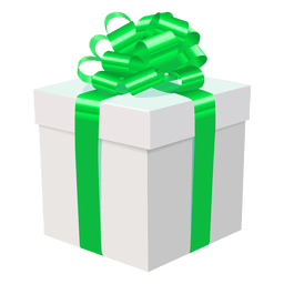 White gift box green bow icon 2