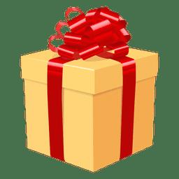 Icono de lazo rojo de caja de regalo amarillo 3