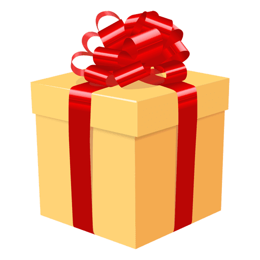 Yellow gift box red bow icon 3 Transparent PNG