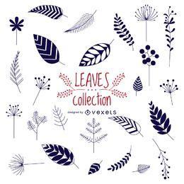 Colección de hojas dibujadas a mano.