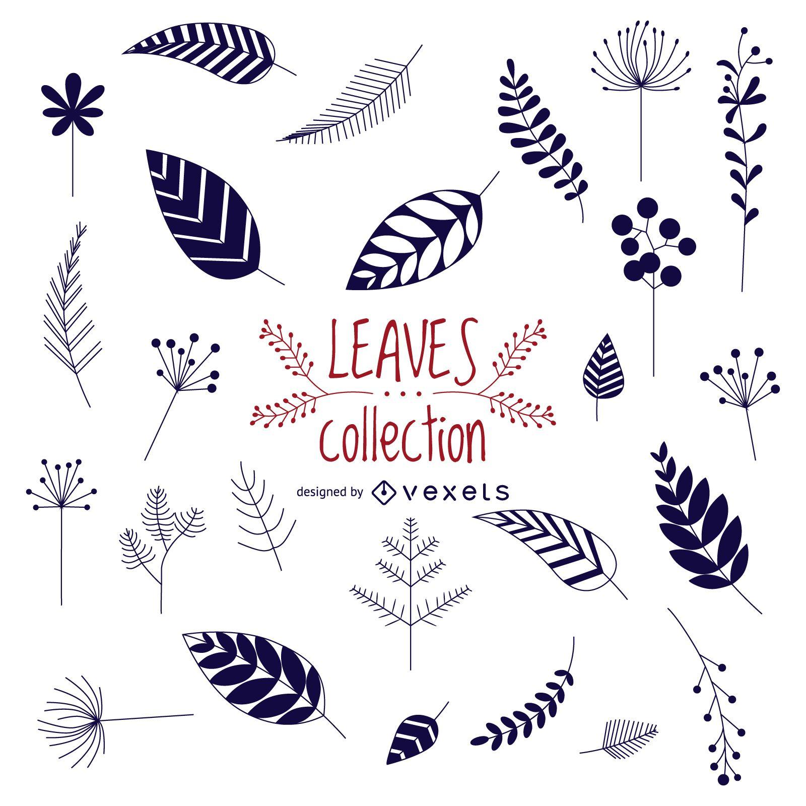 Colección hojas dibujadas a mano