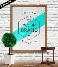 Mockup de cartaz de parede PSD