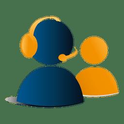 icono de soporte de contactos 3d