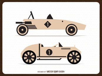 Isolated vintage cars illustrations