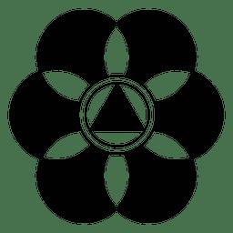 Círculo de colheita de flor abstrata