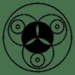 Design de círculo em preto e branco