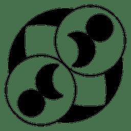 Círculos y círculo de luna.