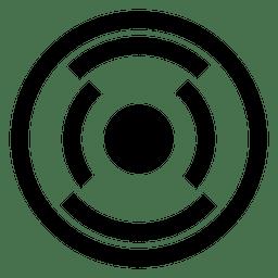 Forma circular con líneas y puntos.