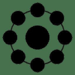 Forma geométrica hecha de círculos y puntos.