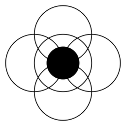 Círculos interseccionados formando uma flor