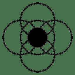 Círculos intersectados formando una flor.