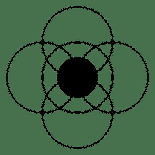 Círculos intersectados formando una flor. Transparent PNG