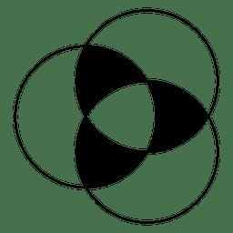 Círculos intersectados de forma geométrica.