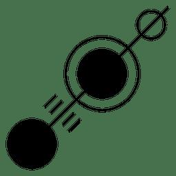 Linha com diferentes círculos ao longo