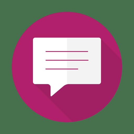 Flaches Zeichen der Mitteilung mit rundem Hintergrund Transparent PNG