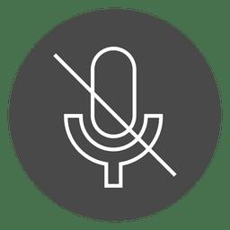 Botón de micrófono apagado icono de círculo