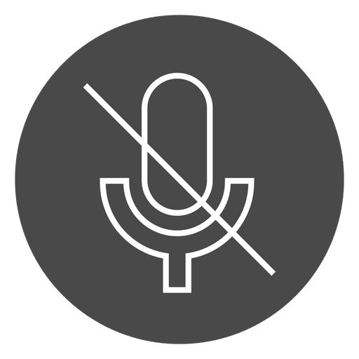 Microphone off button circle icon
