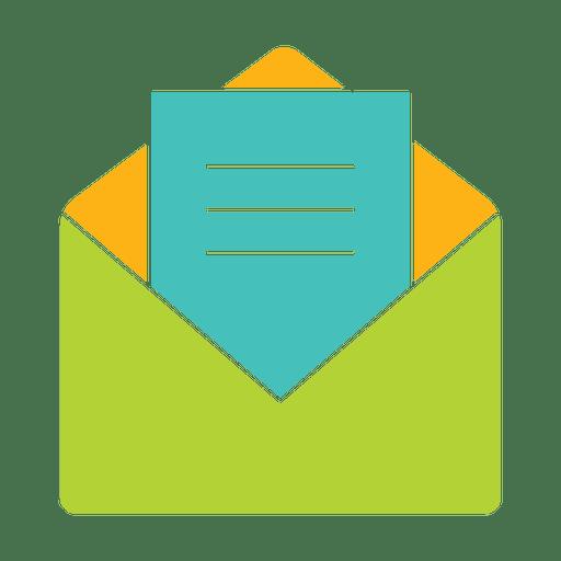 Silueta de icono plano de mensaje abierto