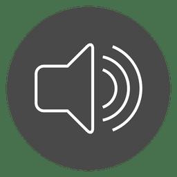 Botón de volumen icono de círculo gris