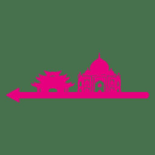 Silueta de hitos asiáticos Transparent PNG