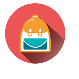 Backpack round icon