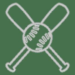Baseballschläger umreißen Logo