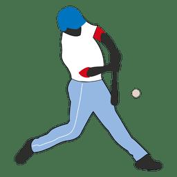 Baseball batter hit silhouette