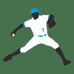 Baseball bowler silhouette