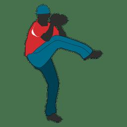 Baseball bowler silhouette 1