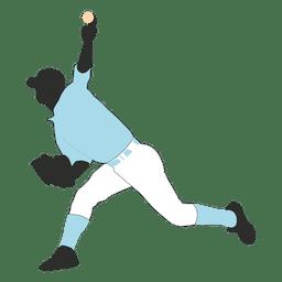 Jogador de beisebol jogando silhueta