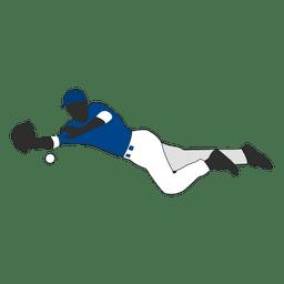Baseball fielder silhouette