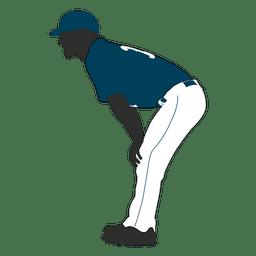 Baseball fielder silhouette 1