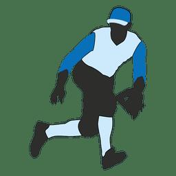 Baseball fielder silhouette 2