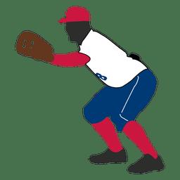 jugador de béisbol la captura de la silueta