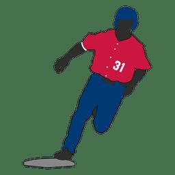 O jogador de beisebol silhueta running do